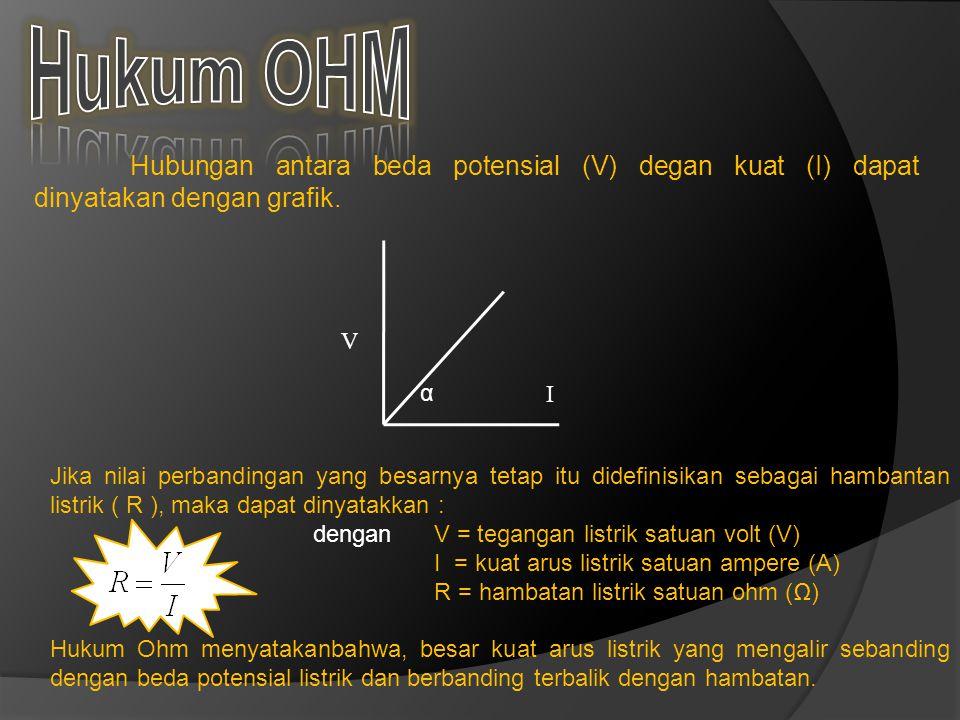 Hubungan antara beda potensial (V) degan kuat (I) dapat dinyatakan dengan grafik.