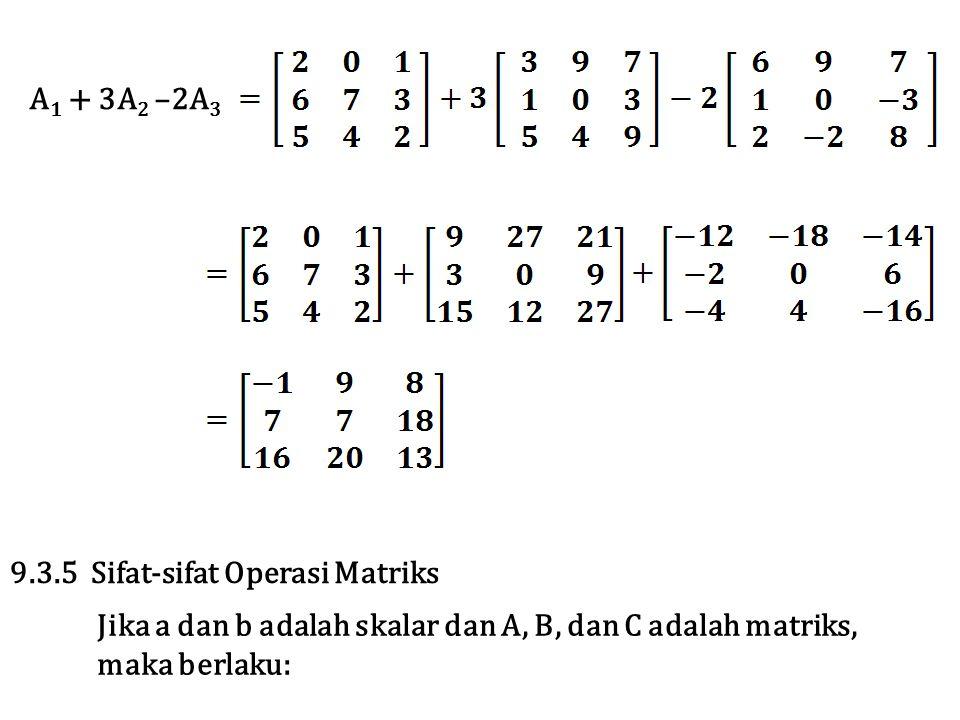 A 1 + 3A 2 –2A 3 9.3.5 Sifat-sifat Operasi Matriks Jika a dan b adalah skalar dan A, B, dan C adalah matriks, maka berlaku: