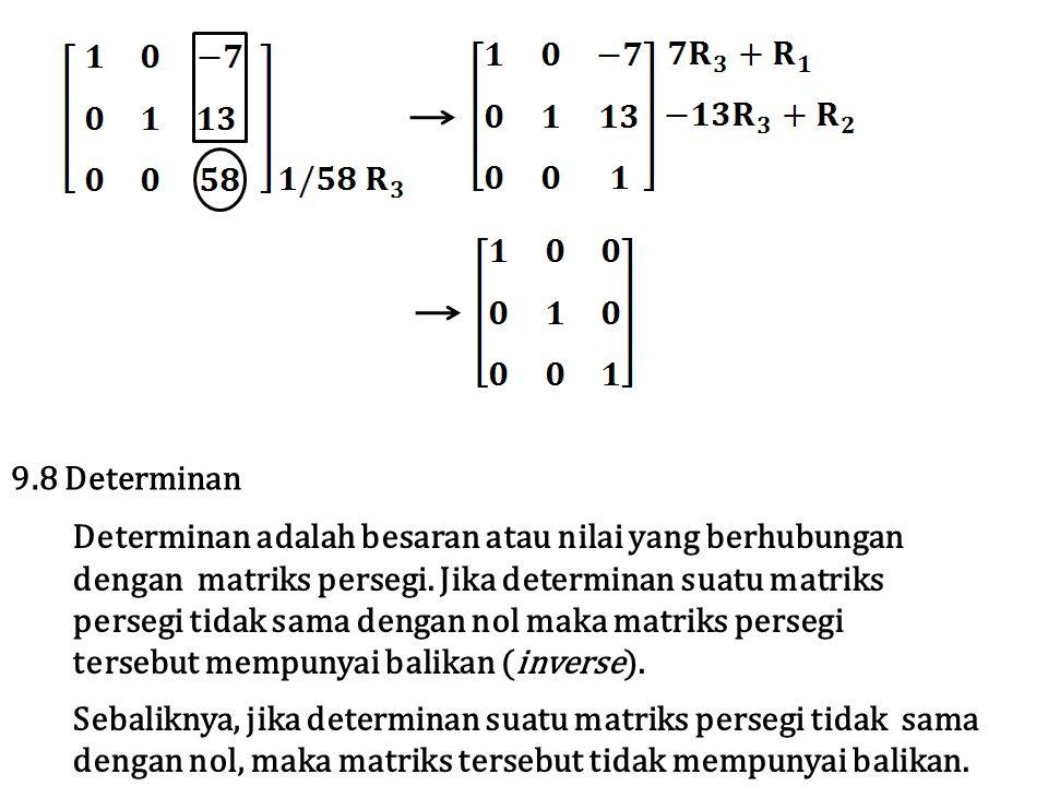 9.8 Determinan Determinan adalah besaran atau nilai yang berhubungan dengan matriks persegi. Jika determinan suatu matriks persegi tidak sama dengan n