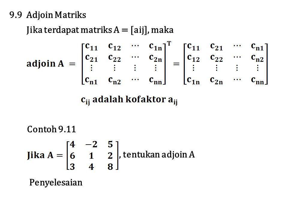 9.9 Adjoin Matriks Jika terdapat matriks A = [aij], maka Contoh 9.11, tentukan adjoin A Penyelesaian