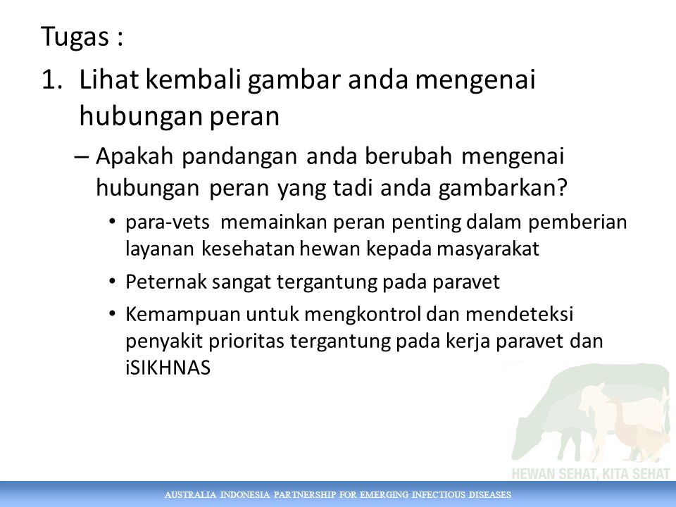 AUSTRALIA INDONESIA PARTNERSHIP FOR EMERGING INFECTIOUS DISEASES Tugas : 1.Lihat kembali gambar anda mengenai hubungan peran – Apakah pandangan anda berubah mengenai hubungan peran yang tadi anda gambarkan.