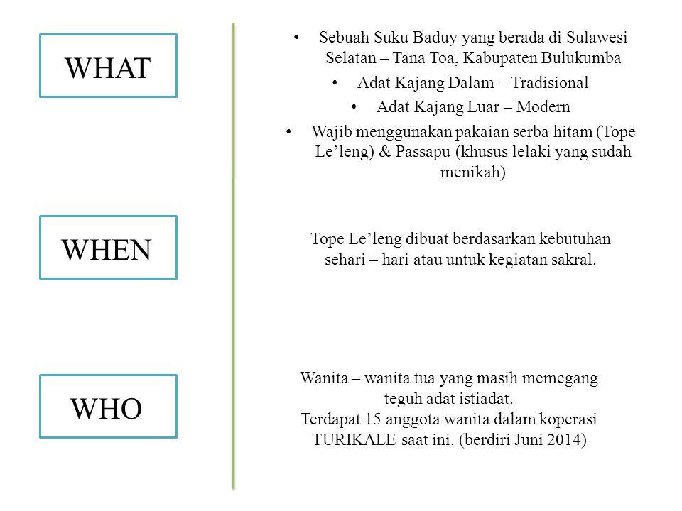 Sebuah Suku Baduy yang berada di Sulawesi Selatan – Tana Toa, Kabupaten Bulukumba Adat Kajang Dalam – Tradisional Adat Kajang Luar – Modern Wajib menggunakan pakaian serba hitam (Tope Le'leng) & Passapu (khusus lelaki yang sudah menikah) WHAT WHEN WHO Tope Le'leng dibuat berdasarkan kebutuhan sehari – hari atau untuk kegiatan sakral.