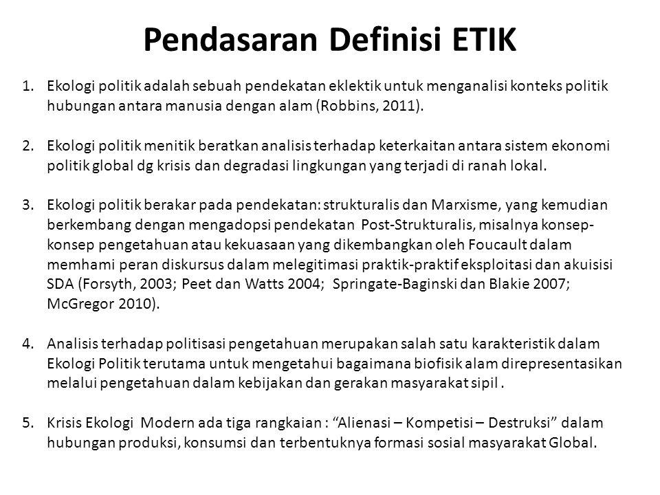 Pendasaran Definisi ETIK 1.Ekologi politik adalah sebuah pendekatan eklektik untuk menganalisi konteks politik hubungan antara manusia dengan alam (Ro