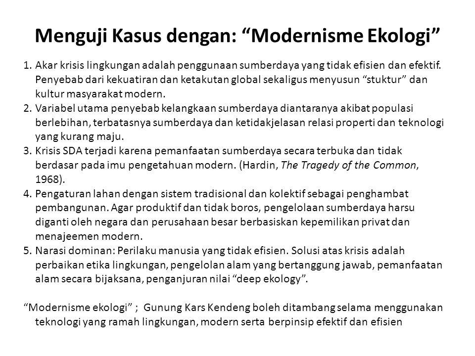 """Menguji Kasus dengan: """"Modernisme Ekologi"""" 1.Akar krisis lingkungan adalah penggunaan sumberdaya yang tidak efisien dan efektif. Penyebab dari kekuati"""
