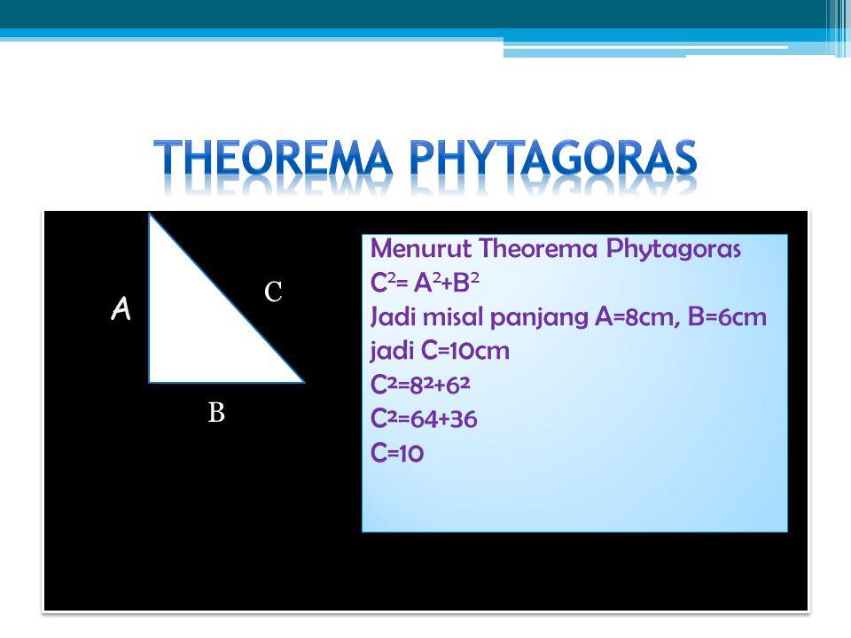 A B C Menurut Theorema Phytagoras C 2 = A 2 +B 2 Jadi misal panjang A=8cm, B=6cm jadi C=10cm C²=8²+6² C²=64+36 C=10 Menurut Theorema Phytagoras C 2 =