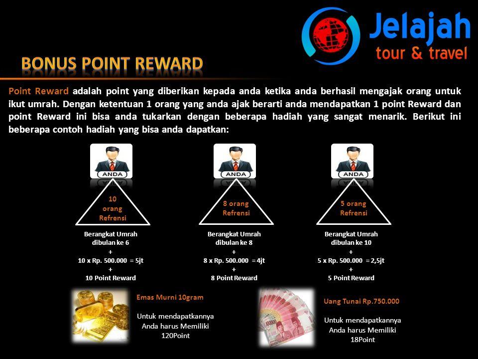 Point Reward adalah point yang diberikan kepada anda ketika anda berhasil mengajak orang untuk ikut umrah. Dengan ketentuan 1 orang yang anda ajak ber
