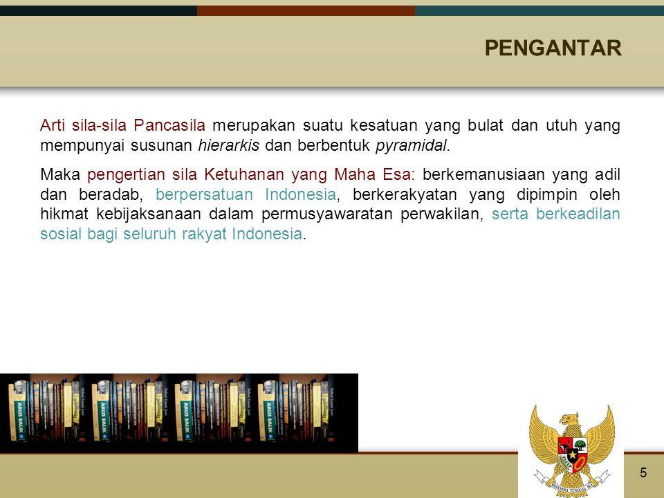 REALISASI NILAI KETUHANAN YANG MAHA ESA DALAM TERTIB HUKUM INDONESIA Dalam kedudukan Pancasila sebagai dasar Negara Republik Indonesia berarti Pancasila dipergunakan sebagai dasar untuk mengatur segala aspek penyelenggaraan Negara.