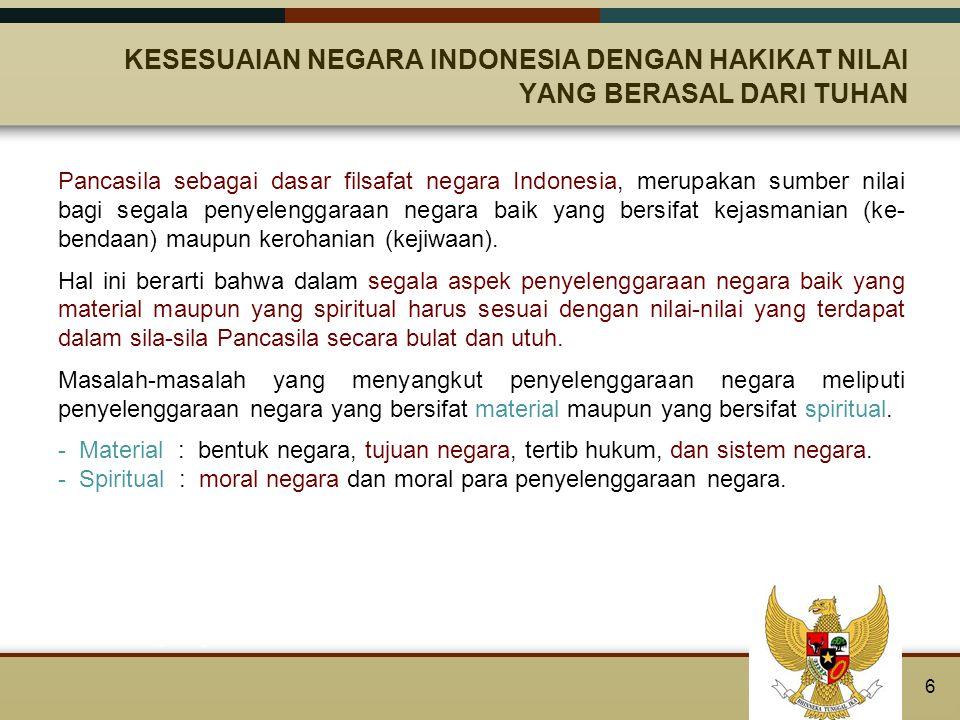 KESESUAIAN NEGARA INDONESIA DENGAN HAKIKAT NILAI YANG BERASAL DARI TUHAN Pendukung pokok negara dan penyelenggaraan negara adalah manusia.