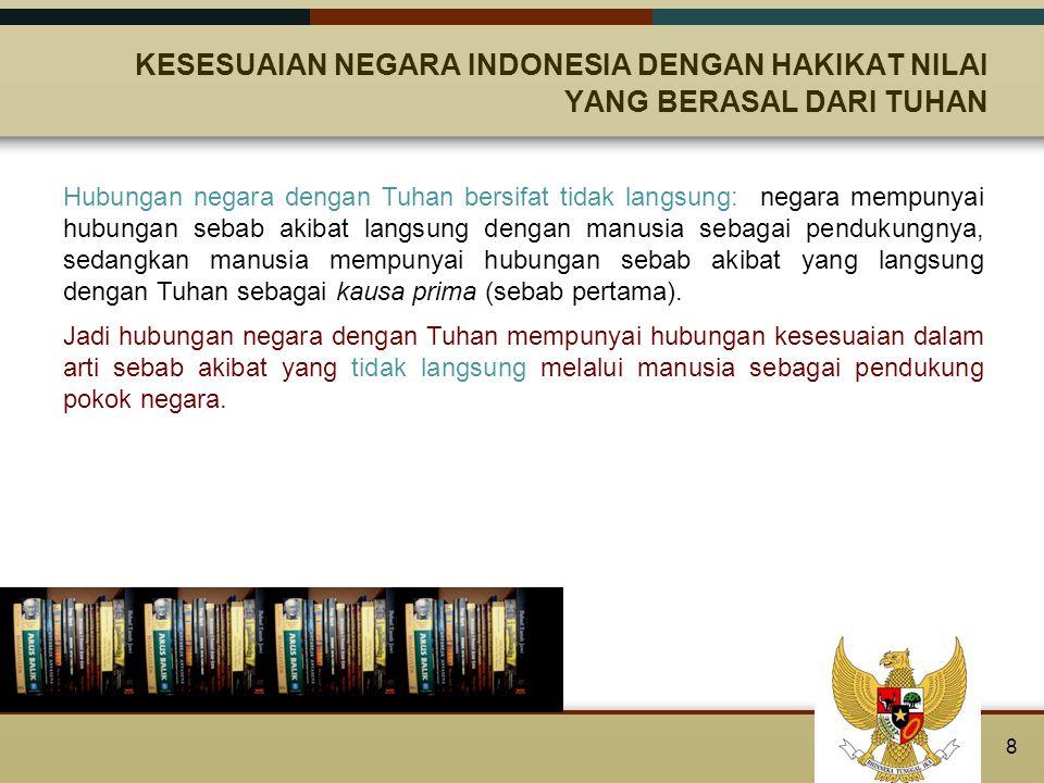 KESESUAIAN NEGARA INDONESIA DENGAN HAKIKAT NILAI YANG BERASAL DARI TUHAN Negara yang berdasarkan pancasila, realisasi penyelenggaraan negaanya harus dijiwai dan bersumber pada nilai-nilai yang datang dari Tuhan, yaitu kebaikan, keadilan dan kebenaran.