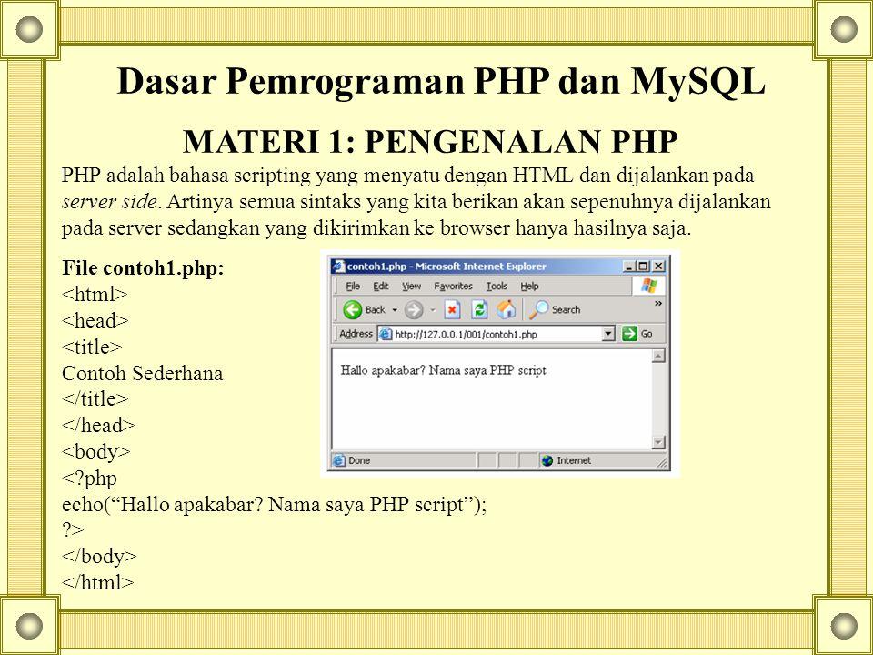 Dasar Pemrograman PHP dan MySQL MATERI 1: PENGENALAN PHP PHP adalah bahasa scripting yang menyatu dengan HTML dan dijalankan pada server side.