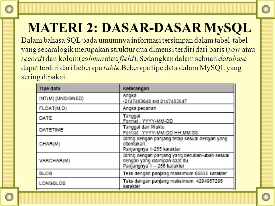MATERI 2: DASAR-DASAR MySQL Dalam bahasa SQL pada umumnya informasi tersimpan dalam tabel-tabel yang secaralogik merupakan struktur dua dimensi terdiri dari baris (row atau record) dan kolom(column atau field).
