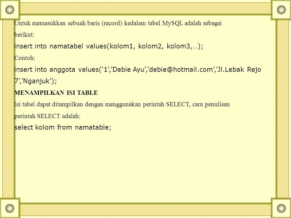 Untuk memasukkan sebuah baris (record) kedalam tabel MySQL adalah sebagai berikut: insert into namatabel values(kolom1, kolom2, kolom3,…); Contoh: insert into anggota values('1','Debie Ayu','debie@hotmail.com','Jl.Lebak Rejo 7','Nganjuk'); MENAMPILKAN ISI TABLE Isi tabel dapat ditampilkan dengan menggunakan perintah SELECT, cara penulisan perintah SELECT adalah: select kolom from namatable;