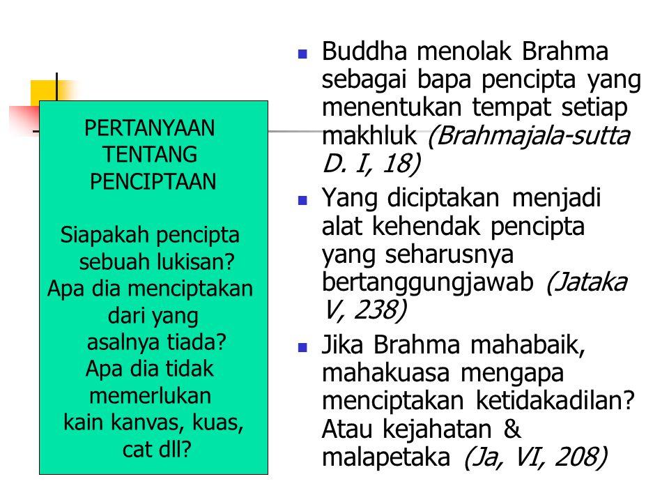 Buddha menolak Brahma sebagai bapa pencipta yang menentukan tempat setiap makhluk (Brahmajala-sutta D. I, 18) Yang diciptakan menjadi alat kehendak pe