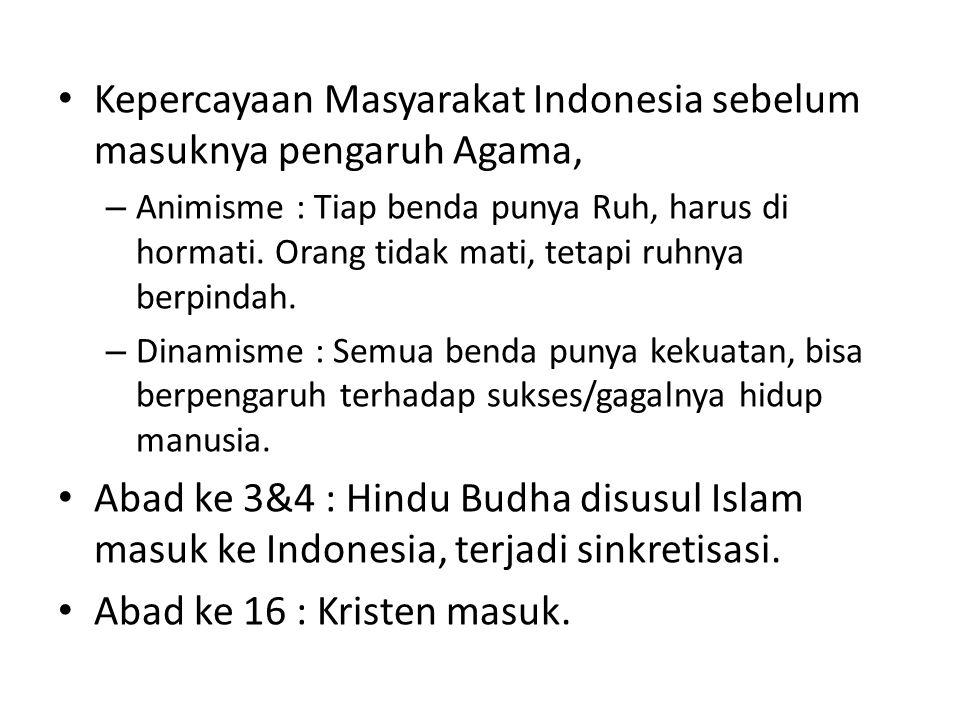 Kepercayaan Masyarakat Indonesia sebelum masuknya pengaruh Agama, – Animisme : Tiap benda punya Ruh, harus di hormati.