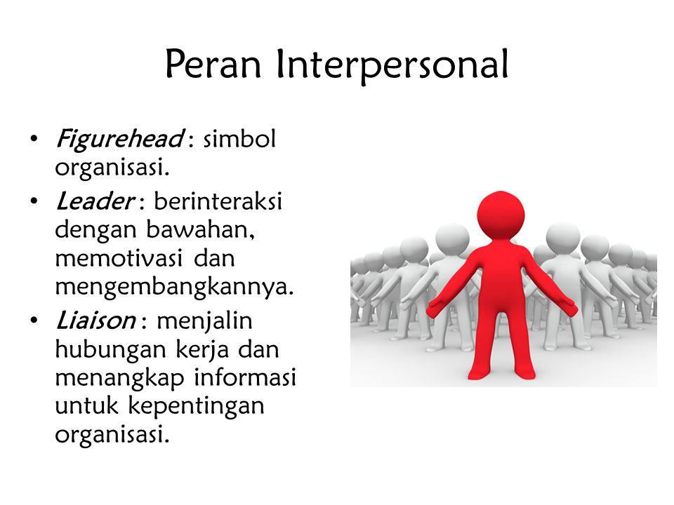 Peran Interpersonal Figurehead : simbol organisasi. Leader : berinteraksi dengan bawahan, memotivasi dan mengembangkannya. Liaison : menjalin hubungan