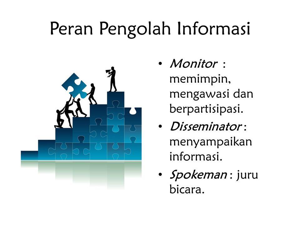Peran Pengolah Informasi Monitor : memimpin, mengawasi dan berpartisipasi. Disseminator : menyampaikan informasi. Spokeman : juru bicara.