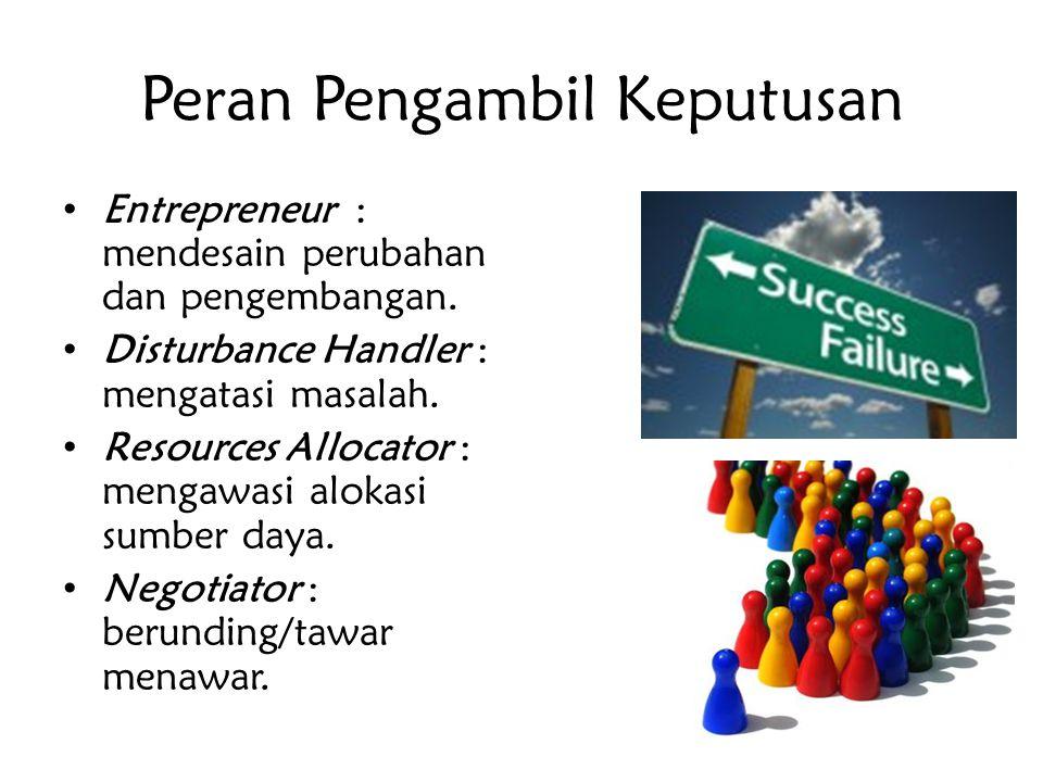 Peran Pengambil Keputusan Entrepreneur : mendesain perubahan dan pengembangan. Disturbance Handler : mengatasi masalah. Resources Allocator : mengawas