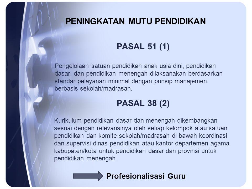PASAL 51 (1) Pengelolaan satuan pendidikan anak usia dini, pendidikan dasar, dan pendidikan menengah dilaksanakan berdasarkan standar pelayanan minimal dengan prinsip manajemen berbasis sekolah/madrasah.