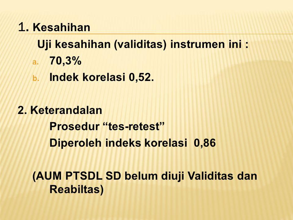 1.Kesahihan Uji kesahihan (validitas) instrumen ini : a.