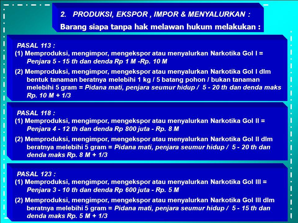 PASAL 122 : (1) Memiliki,menyimpan utk dimiliki / utk persediaan / menguasai Narkotika Gol III bentuk tanaman = Penjara 2-7 th dan denda Rp 400 juta -