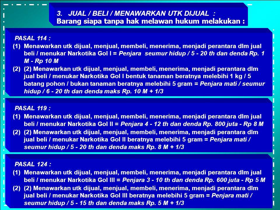 PASAL 113 : (1) Memproduksi, mengimpor, mengekspor atau menyalurkan Narkotika Gol I = Penjara 5 - 15 th dan denda Rp 1 M -Rp. 10 M (2) Memproduksi, me