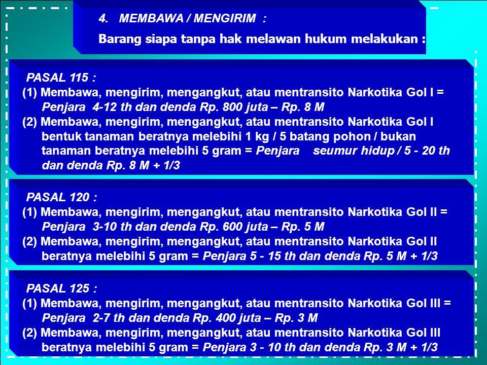 3. JUAL / BELI / MENAWARKAN UTK DIJUAL : Barang siapa tanpa hak melawan hukum melakukan : PASAL 114 : (1)Menawarkan utk dijual, menjual, membeli, mene