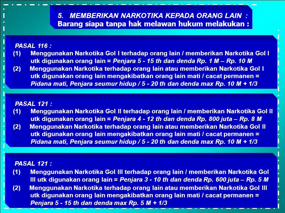4. MEMBAWA / MENGIRIM : Barang siapa tanpa hak melawan hukum melakukan : PASAL 115 : (1) Membawa, mengirim, mengangkut, atau mentransito Narkotika Gol