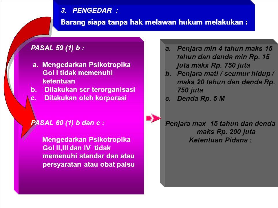 PASAL 59 (1) b : a. Memproduksi dan atau menggunakan bahan proses produksi Psikotropika Gol I b. Dilakukan scr terorganisasi c. Dilakukan oleh korpora