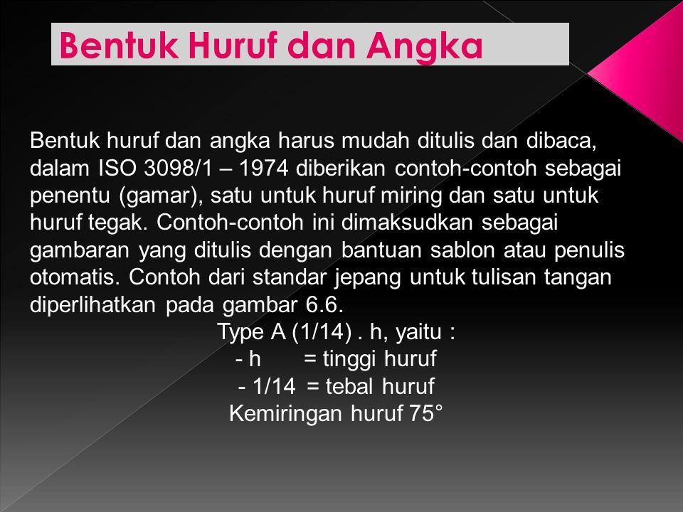Bentuk Huruf dan Angka Bentuk huruf dan angka harus mudah ditulis dan dibaca, dalam ISO 3098/1 – 1974 diberikan contoh-contoh sebagai penentu (gamar),