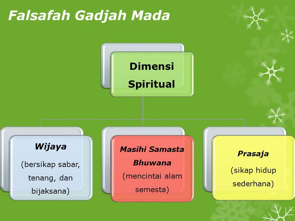 Dimensi Spiritual Wijaya (bersikap sabar, tenang, dan bijaksana) Masihi Samasta Bhuwana (mencintai alam semesta) Prasaja (sikap hidup sederhana)