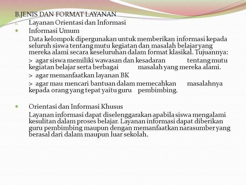 B.JENIS DAN FORMAT LAYANAN 1. Layanan Orientasi dan Informasi Informasi Umum Data kelompok dipergunakan untuk memberikan informasi kepada seluruh sisw