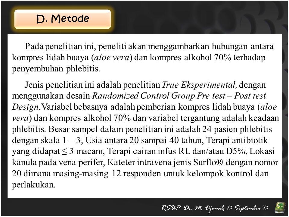 D. Metode RSUP Dr. M. Djamil, 13 September'13 Pada penelitian ini, peneliti akan menggambarkan hubungan antara kompres lidah buaya (aloe vera) dan kom