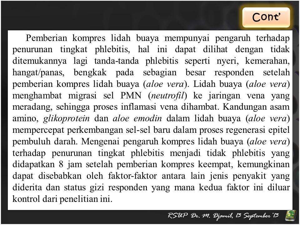 Cont' RSUP Dr. M. Djamil, 13 September'13 Pemberian kompres lidah buaya mempunyai pengaruh terhadap penurunan tingkat phlebitis, hal ini dapat dilihat