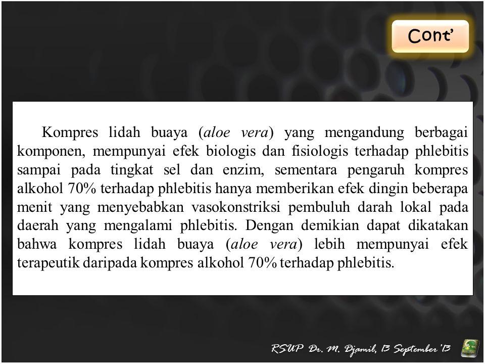 Cont' RSUP Dr. M. Djamil, 13 September'13 Kompres lidah buaya (aloe vera) yang mengandung berbagai komponen, mempunyai efek biologis dan fisiologis te