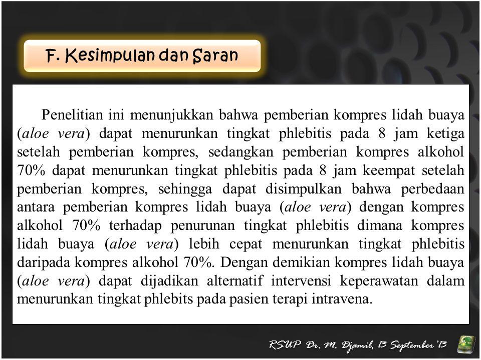 F. Kesimpulan dan Saran RSUP Dr. M. Djamil, 13 September'13 Penelitian ini menunjukkan bahwa pemberian kompres lidah buaya (aloe vera) dapat menurunka
