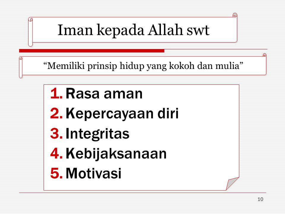 """10 Iman kepada Allah swt """"Memiliki prinsip hidup yang kokoh dan mulia"""" 1.Rasa aman 2.Kepercayaan diri 3.Integritas 4.Kebijaksanaan 5.Motivasi"""