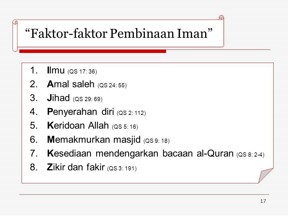 """17 """"Faktor-faktor Pembinaan Iman"""" 1.Ilmu (QS 17: 36) 2.Amal saleh (QS 24: 55) 3.Jihad (QS 29: 69) 4.Penyerahan diri (QS 2: 112) 5.Keridoan Allah (QS 5"""