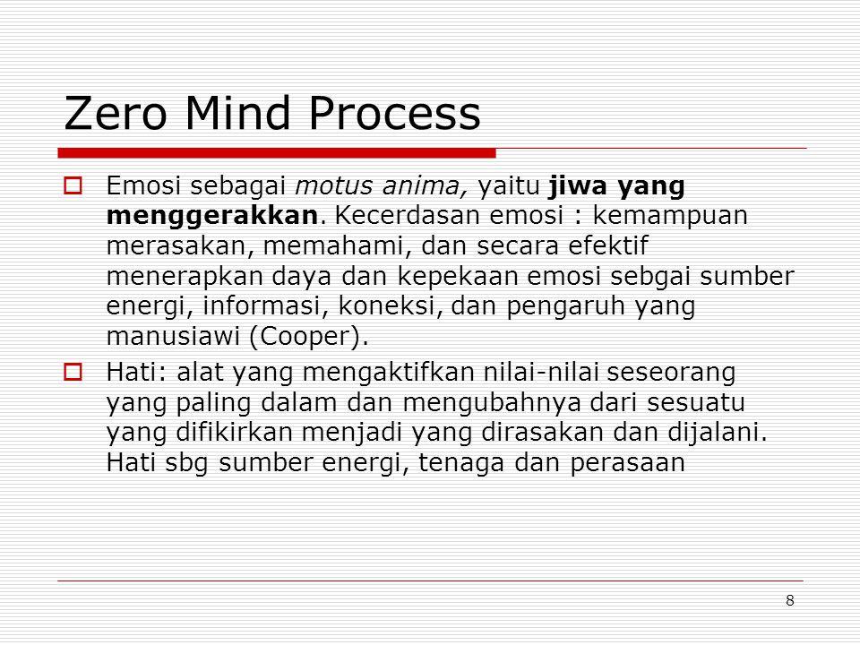 8 Zero Mind Process  Emosi sebagai motus anima, yaitu jiwa yang menggerakkan. Kecerdasan emosi : kemampuan merasakan, memahami, dan secara efektif me