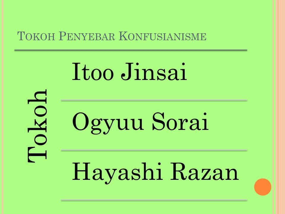 T OKOH P ENYEBAR K ONFUSIANISME Tokoh Itoo Jinsai Ogyuu Sorai Hayashi Razan