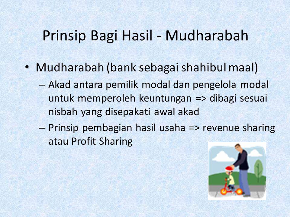 Penyaluran dana Prinsip bagi hasilPembiayaan Mudharabah Pembiayaan Musyarakah Prinsip jual beliMurabahah Istishna, Istishna Paralel Salam, Salam Paral