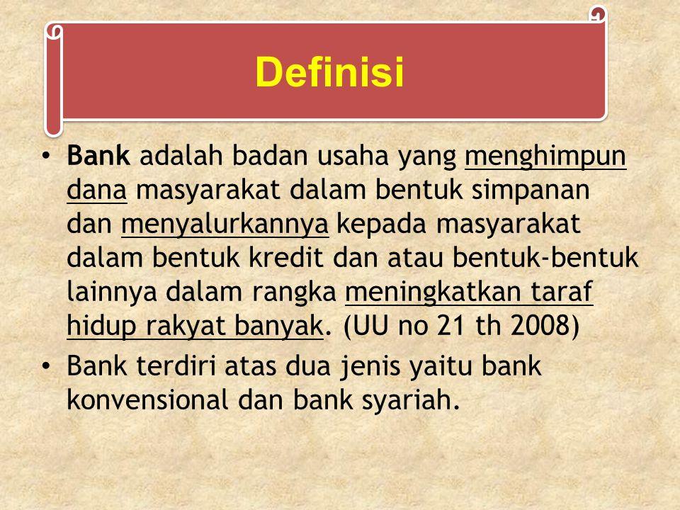 Bank adalah badan usaha yang menghimpun dana masyarakat dalam bentuk simpanan dan menyalurkannya kepada masyarakat dalam bentuk kredit dan atau bentuk-bentuk lainnya dalam rangka meningkatkan taraf hidup rakyat banyak.