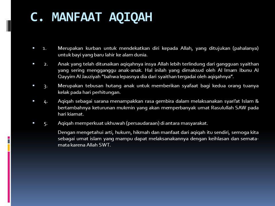 C.MANFAAT AQIQAH  1.