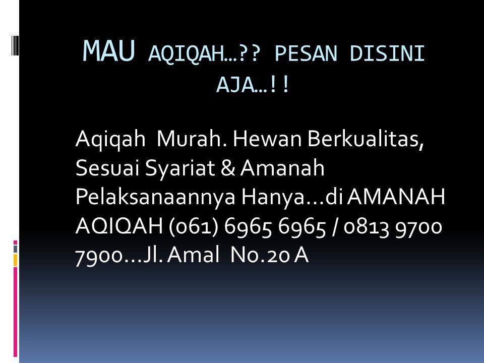 MAU AQIQAH…?? PESAN DISINI AJA…!! Aqiqah Murah. Hewan Berkualitas, Sesuai Syariat & Amanah Pelaksanaannya Hanya...di AMANAH AQIQAH (061) 6965 6965 / 0