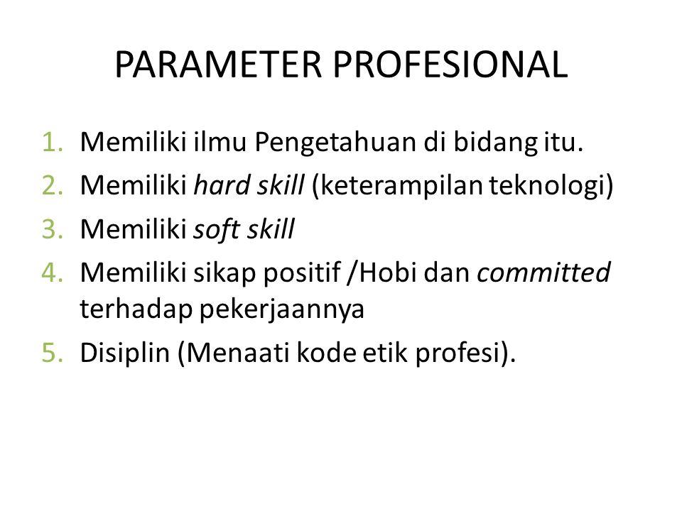 PARAMETER PROFESIONAL 1.Memiliki ilmu Pengetahuan di bidang itu.