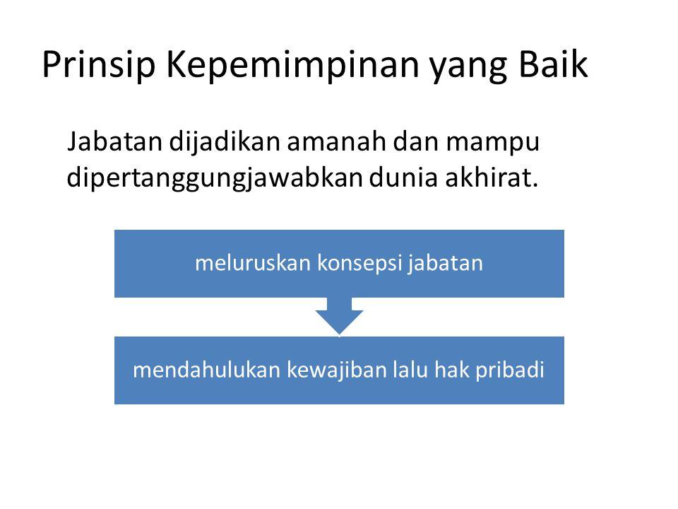 Prinsip Kepemimpinan yang Baik Jabatan dijadikan amanah dan mampu dipertanggungjawabkan dunia akhirat. mendahulukan kewajiban lalu hak pribadi melurus