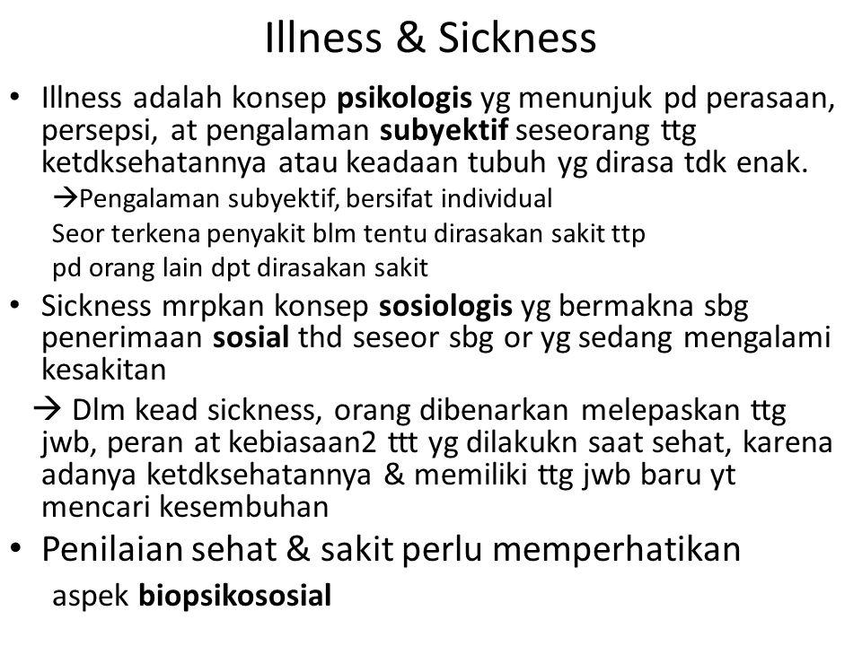 Illness & Sickness Illness adalah konsep psikologis yg menunjuk pd perasaan, persepsi, at pengalaman subyektif seseorang ttg ketdksehatannya atau kead