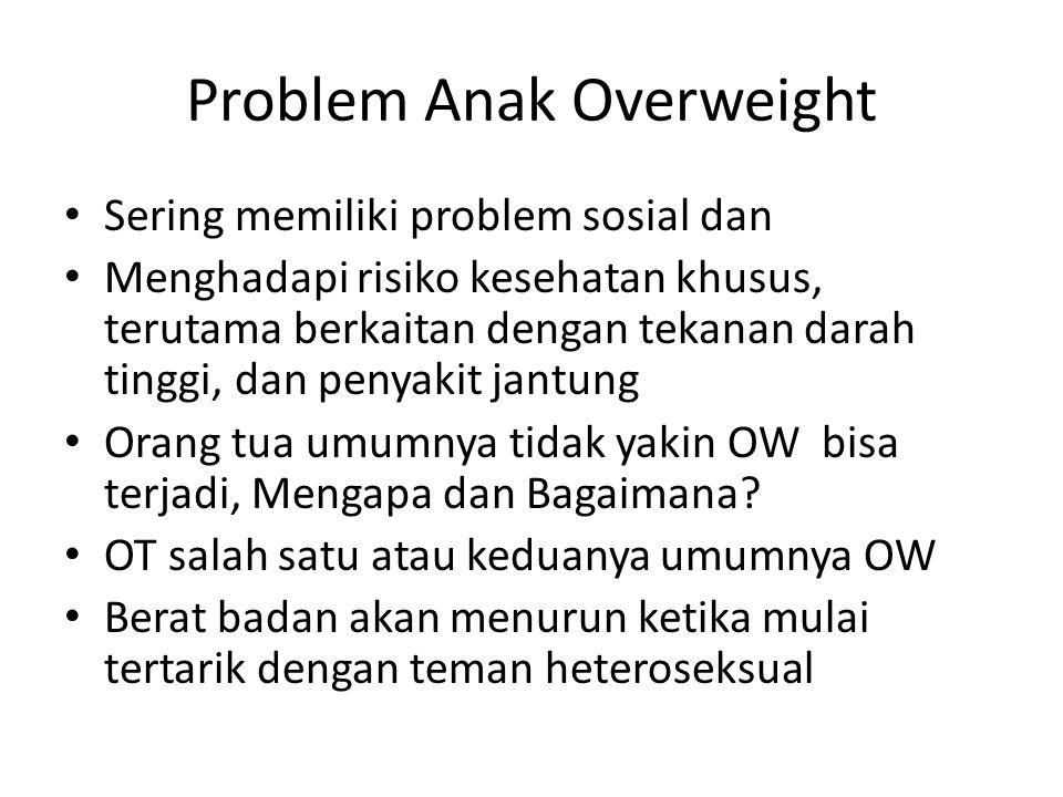 Problem Anak Overweight Sering memiliki problem sosial dan Menghadapi risiko kesehatan khusus, terutama berkaitan dengan tekanan darah tinggi, dan pen