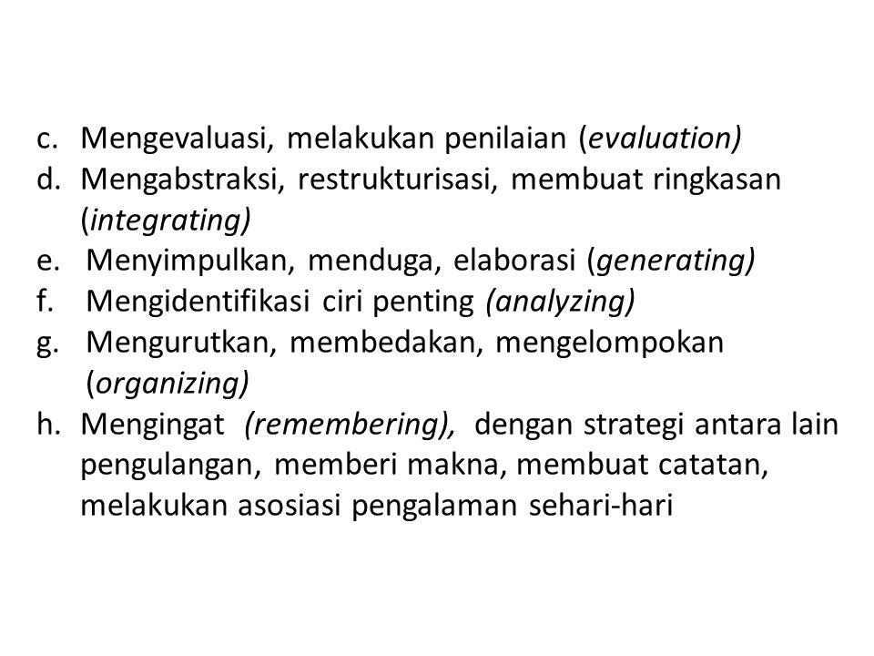 c.Mengevaluasi, melakukan penilaian (evaluation) d.Mengabstraksi, restrukturisasi, membuat ringkasan (integrating) e.Menyimpulkan, menduga, elaborasi