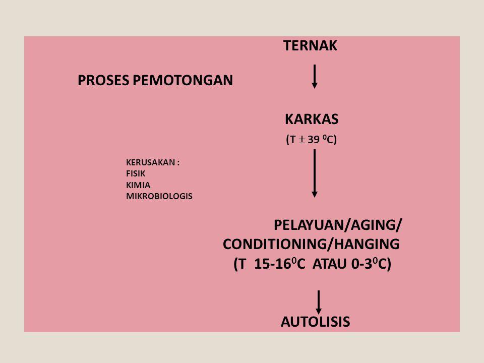 TERNAK PROSES PEMOTONGAN KARKAS (T  39 0 C) KERUSAKAN : FISIK KIMIA MIKROBIOLOGIS PELAYUAN/AGING/ CONDITIONING/HANGING (T 15-16 0 C ATAU 0-3 0 C) AUT