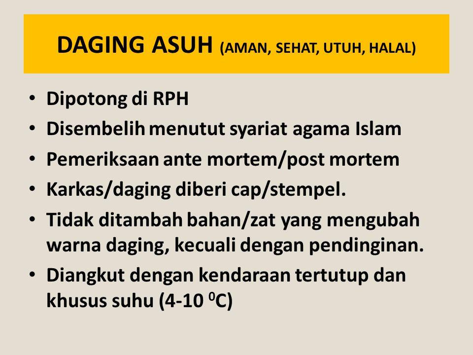 DAGING ASUH (AMAN, SEHAT, UTUH, HALAL) Dipotong di RPH Disembelih menutut syariat agama Islam Pemeriksaan ante mortem/post mortem Karkas/daging diberi